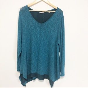 Soft Surroundings Teal So Chill Pullover Tee